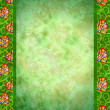 Grunge green background with flowers hearts borders — Stock Photo #8726652