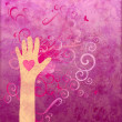 Stock Photo: Hand with heart giving love, friendship, peace or help. Magenta