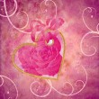 Royalty-Free Stock Photo: Golden heart with rose flower pink composition grunge idea for v