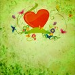 Red hear, banner scroll, butterflies and flowers on green gunge — Stock Photo