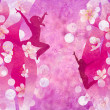 Stock Photo: Three urbmodern dancing women silhuettes on red or pink g