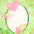 Pink hearts love and romance oval grunge green frame with floral — Stockfoto