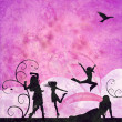 Fashion girls silhouettes on grunge pink and violet background — Stock Photo