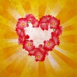 Flowers heart on yellow light rays grunge background — Foto Stock