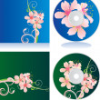 Royalty-Free Stock Photo: Vector set of disc covers with flowers