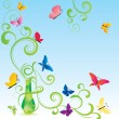 Green spring fragrance bottle with flourishes and butterfly — Stock Photo
