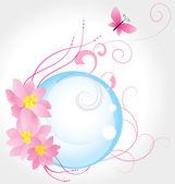 μπλε φούσκα και τα τρία ροζ λουλούδια με πεταλούδα που απομονώνονται σε wh — Φωτογραφία Αρχείου