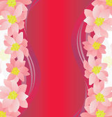 Pink flowers border on dark magenta background — Стоковое фото