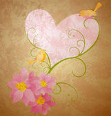 Birds love pink flowers and hearts grunge illustration — Stock Photo