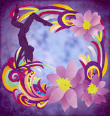 Dancing woman silhuette with color stripes and flowers on blue g — Stock Photo