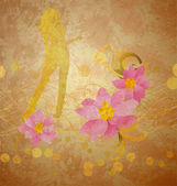 Girl and pink flowers on grunge background old paper — Stock Photo