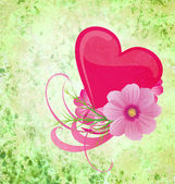Green grunge background with purple and pink heart and flowers — Stok fotoğraf