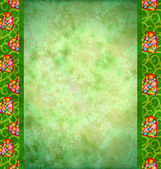 Grunge green background with flowers hearts borders — Stock Photo