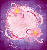 Flores rosa grunge en el papel de fondo púrpura — Foto de Stock