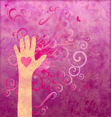 Hand with heart giving love, friendship, peace or help. Magenta — Foto Stock