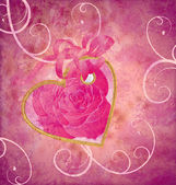 Golden heart with rose flower pink composition grunge idea for v — Stock Photo