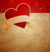 Valentine's day or wedding vintage grunge paper background with — Stock Photo