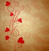 Hearts tree retro grunge background brown paper — Stock Photo