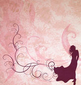 关于轻武器的粉红色 grunge backgrou 暗棕色时尚女孩剪影 — 图库照片