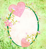 Pink hearts love and romance oval grunge green frame with floral — Stok fotoğraf