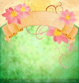 ピンクの花とスクロール グランジのヴィンテージ緑の背景 — ストック写真