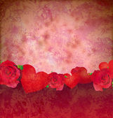 Grunge red hearts and roses border red background lovely backgro — Stock Photo