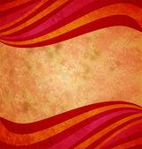 Ondas coloridas de vermelhas e laranja sobre o fundo de papel velho grunge — Foto Stock