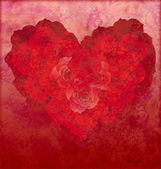 Red roses heart on red grunge background love or wedding illustr — Stock Photo