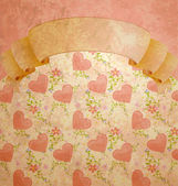 Vintage style scroll blank with pastel hearts pattern — Stock Photo