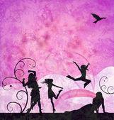 мода девочек силуэты на гранж-розовый и фиолетовый фон — Стоковое фото