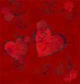 Red hearts grunge background — Foto de Stock