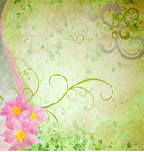 Spring green grunge background with pink flowers and butterflies — Stockfoto