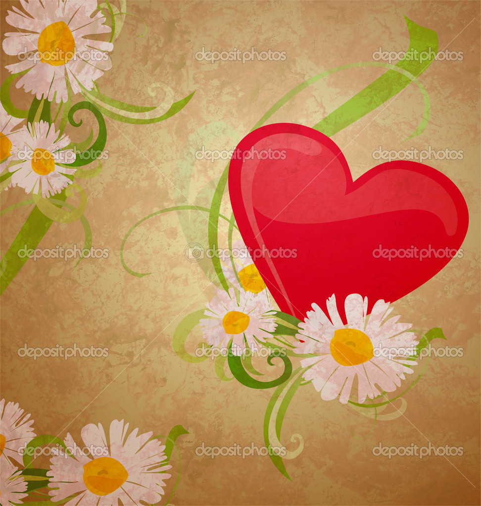 Red heart wintage xtyle valentines day illustration for love, romance and wedding — Stock Photo #8726556