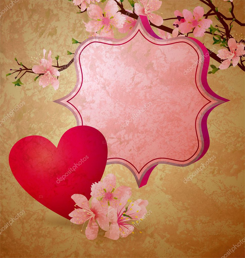 Grunge illustration with blooming cherry tree and red heart valentine's day frame — Stock Photo #8726588