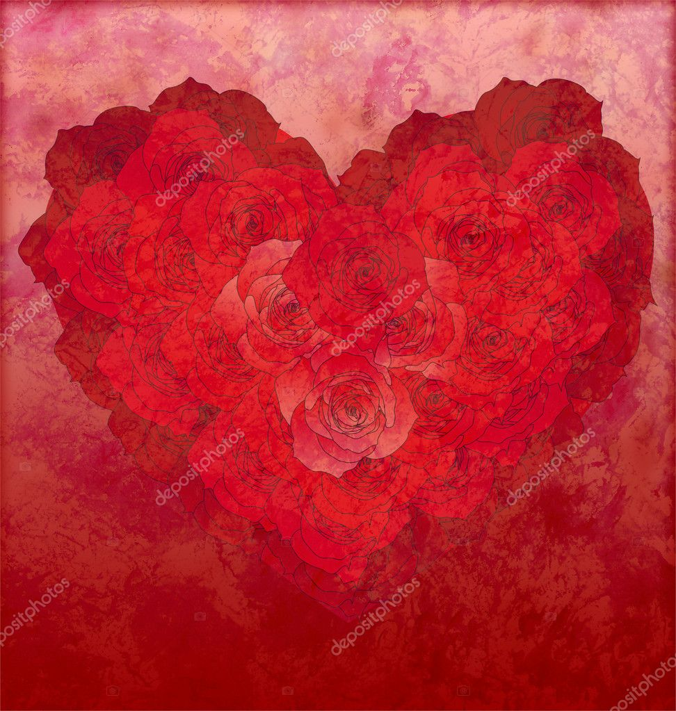 Red roses heart on red grunge background love or wedding illustration — Stock Photo #8726922