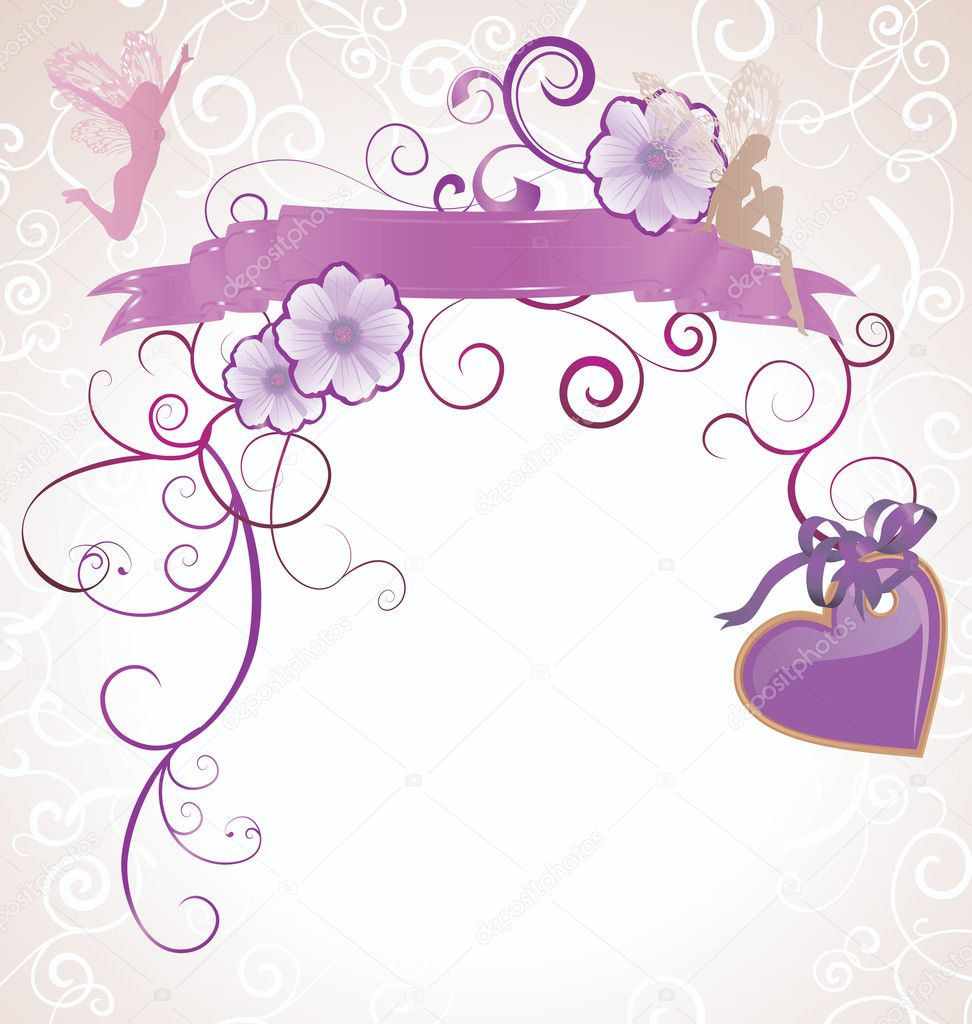 Violet or purple fairies and flowers heart scrollon white background — Stock Photo #8727104