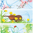 Spring banners set with blossom tree, violin, flowers and ladybi — Stock Photo