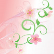 Pink romance vector background witn flowers and curves - Стоковая фотография