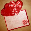 Foto Stock: Red heart wintage xtyle valentines day illustration for love, ro
