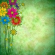Colorful graphic flowers on grunge watercolor background — Stock Photo
