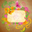Stock Photo: Old paper background with butterflies and flourishes frame