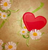 Red heart ans daisy grunge watercolor on dark paper background — Stock Photo