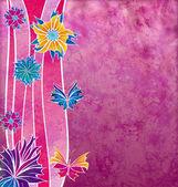 Dekorativní fialové květy s tvary vln a grunge efekt — Stock fotografie