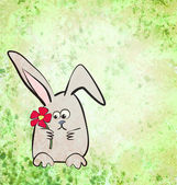 Cartton hare or rabbit illustration on grunge green watercolor b — Stock Photo