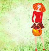 Red young woman with easter basket on green watercolor backgroun — Stock Photo