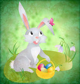 Easter bunny with busket and eggs on green grunge backdrop with — Stock Photo