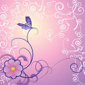 Detailed butterfly with floral ornament on magenta backdrop — Stock Photo