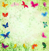 Green grunge background with colorful butterflies frame — Stockfoto