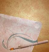 Iullustration de grunge de la pluma de la tinta en el rollo de papel — Foto de Stock