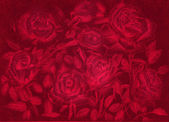 Red roses pensil draw dark floral vintage background — Stock Photo